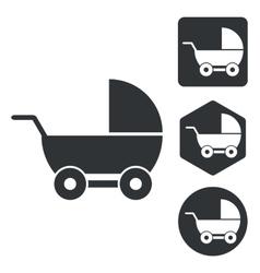 Stroller icon set monochrome vector