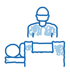 Surgeon nad patient on surgical table doodle icon vector