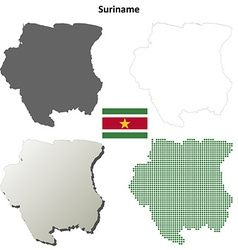 Suriname blank detailed outline map set vector