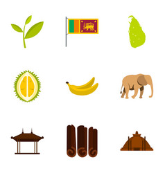 Symbols of sri lanka icons set flat style vector