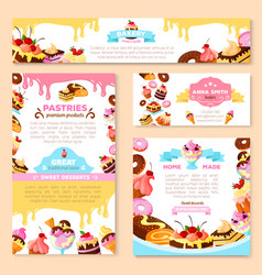 Templates of bakery shop or cafe patisserie vector