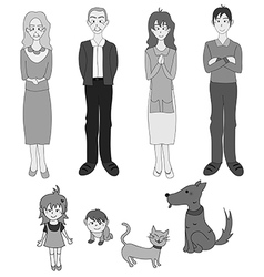 Three Generation Familys with Cat Dog Gray vector image