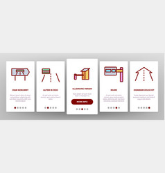 Toll road highway onboarding icons set vector