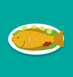 Top view fish fry on white plate vector