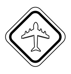 Traffic signal with airplane travel isolated icon vector