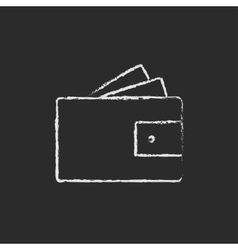 Wallet with money icon drawn in chalk vector