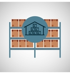 Warehouse box storage icon vector