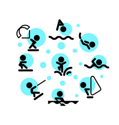 water sports icons vector image