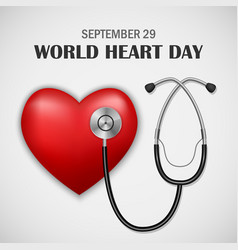 world heart day concept background realistic vector image