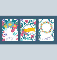 wreaths leaves and flowers set cards banners vector image