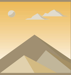 Yellow mountains in the fog vector
