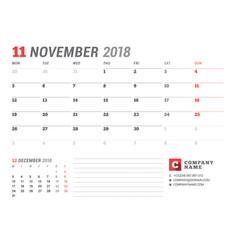 calendar template for november 2017 business vector image