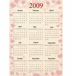european pink calendar with hearts vector image vector image