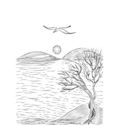landscape with tree on a hilly sea shore vector image vector image