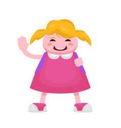little girl with blond hair having fun waving her vector image vector image