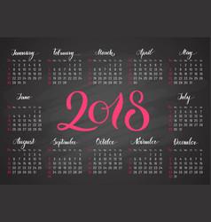 Pocket calendar 2018 in dark colors lettering vector