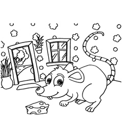 Rat Colouring Pages vector image vector image