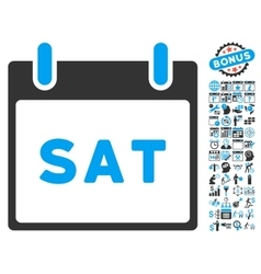 Saturday Calendar Page Flat Icon With Bonus vector image vector image