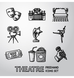 Set of freehand Theatre icons - masks theater vector image vector image