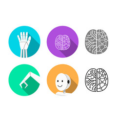 set of humanoid robot icon in flat style vector image
