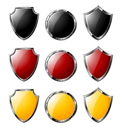 Set of steel shields isolated on white vector image vector image