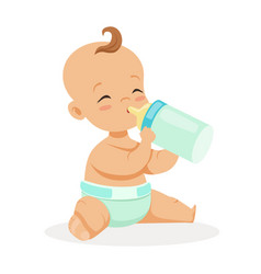 sweet little baby sitting and drinking milk in a vector image