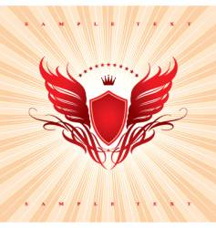 wings shield and crown vector image vector image