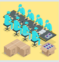 factory manual assembly line with works and vector image vector image