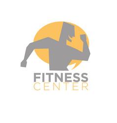 fitness center logo design of silhouette running vector image