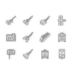 Guitars black line icons set vector image
