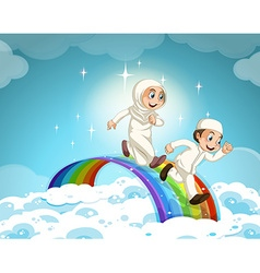 Muslim couple running over the rainbow vector