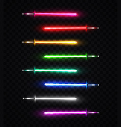 Neon light swords set on transparent background vector