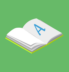 open book with blank paper and letter a vector image