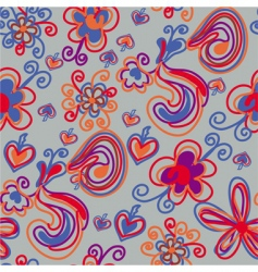 seamless pattern with bright flowers vector image vector image