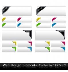vector colored corner ribbon set vector image