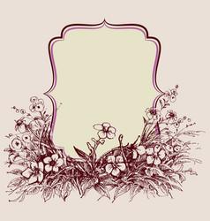vintage floral frame space for text vector image