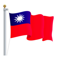 waving taiwan flag isolated on a white background vector image vector image