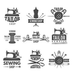 different labels or logos set for tailor shop vector image vector image