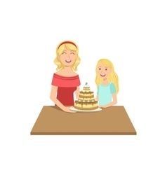 Mother And Child Having Cake Together vector image vector image