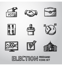 Set of handdrawn ELECTION icons with - vote box vector image vector image