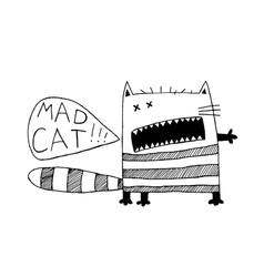 Freaky cat funny fancy hand drawn animal black vector image