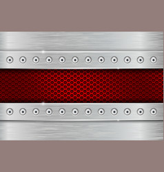 metal texture with brushed iron plate with rivets vector image