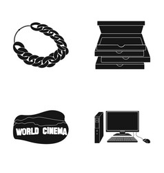 necklace pizza packaging and other web icon in vector image vector image