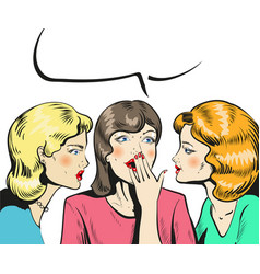 tree women talking whispering news comic style vector image vector image