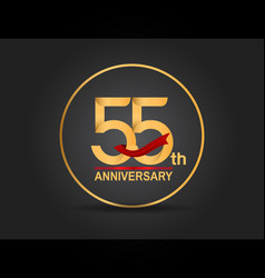 55 anniversary design golden color with ring vector