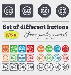 60 second stopwatch icon sign Big set of colorful vector image