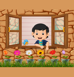 a boy at the window with birds vector image