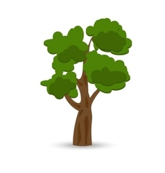 A stylized drawing of a green curly oak vector
