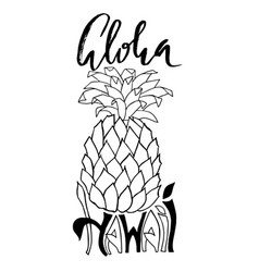 aloha hawaii typography banner pineapple sketch vector image