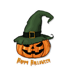 an of a cartoon pumpkin in witch hat happy vector image